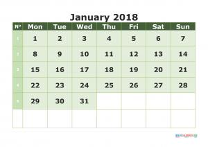 Printable Calendar January 2018 with week numbers, week day begin on Monday