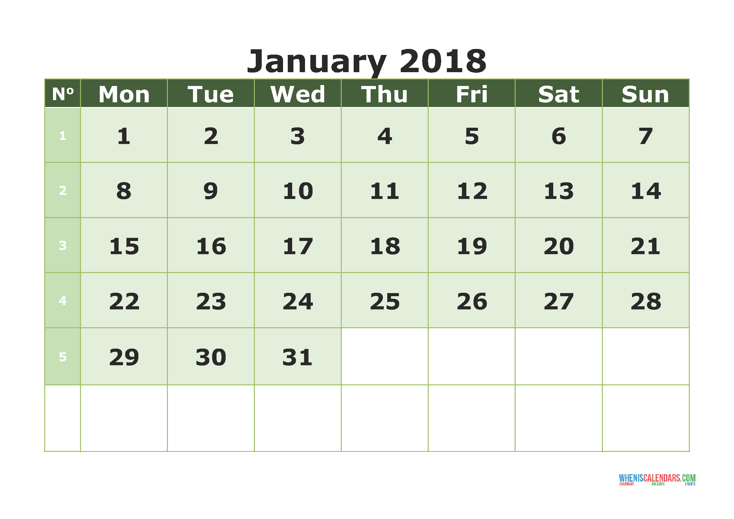 click the link to download or print the printable calendar january 2018