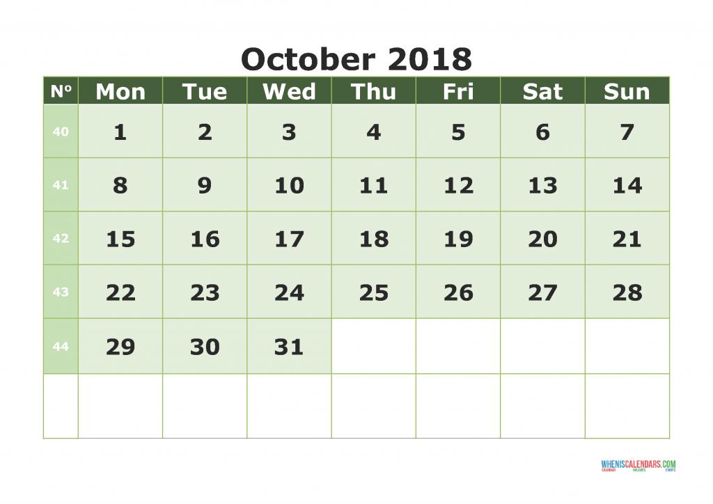 Printable Calendar October 2018 with week numbers, week day begin on Monday