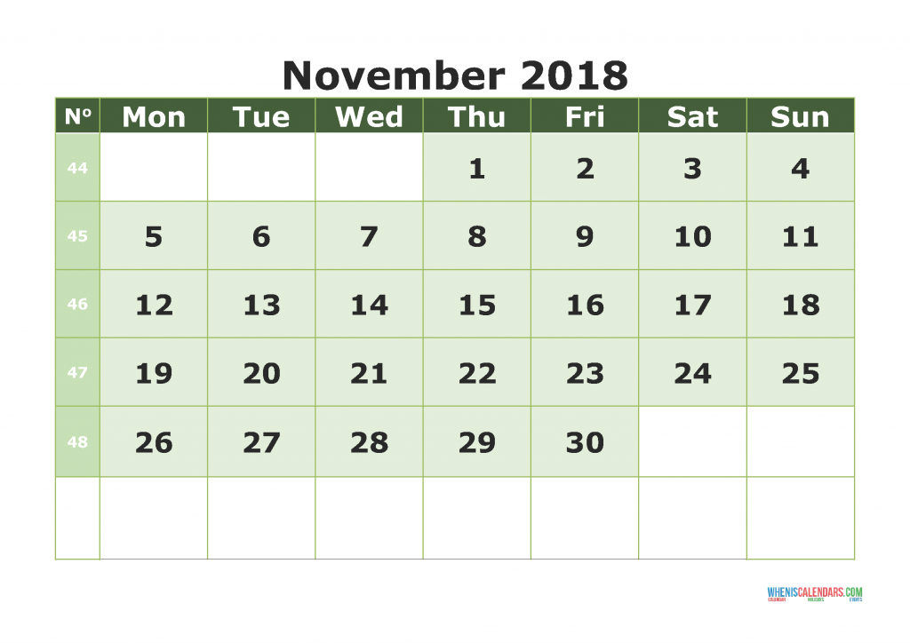 Printable Calendar November 2018 with week numbers, week day begin on Monday