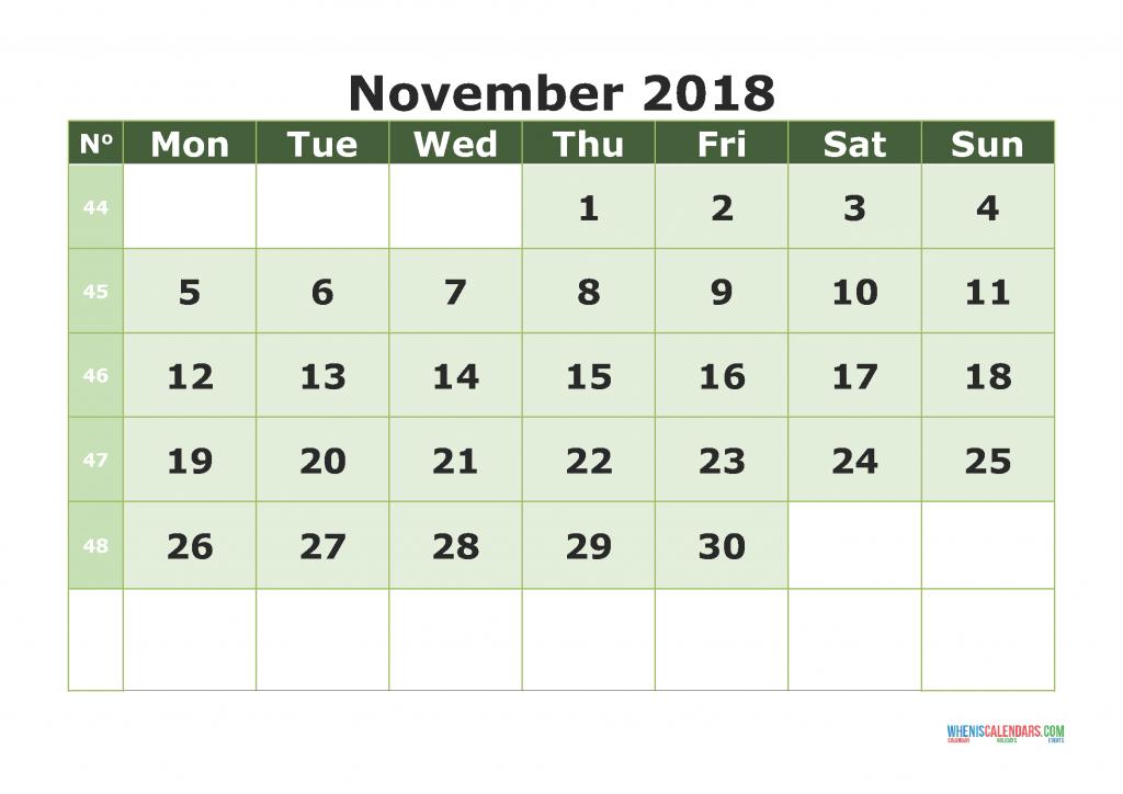 Printable Calendar November 2018 with week numbers, week day begin on Monday