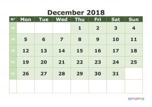 Printable Calendar December 2018 with week numbers, week day begin on Monday