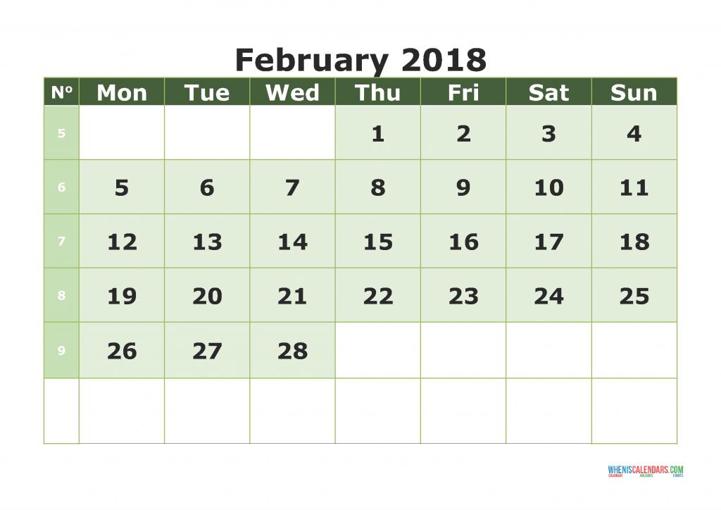 Printable Calendar February 2018 with week numbers, week day begin on Monday
