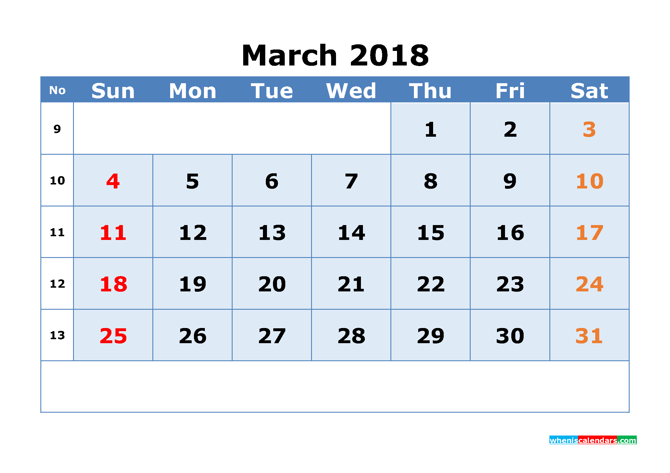 Printable Calendar March 2018 with Week Numbers as, Image