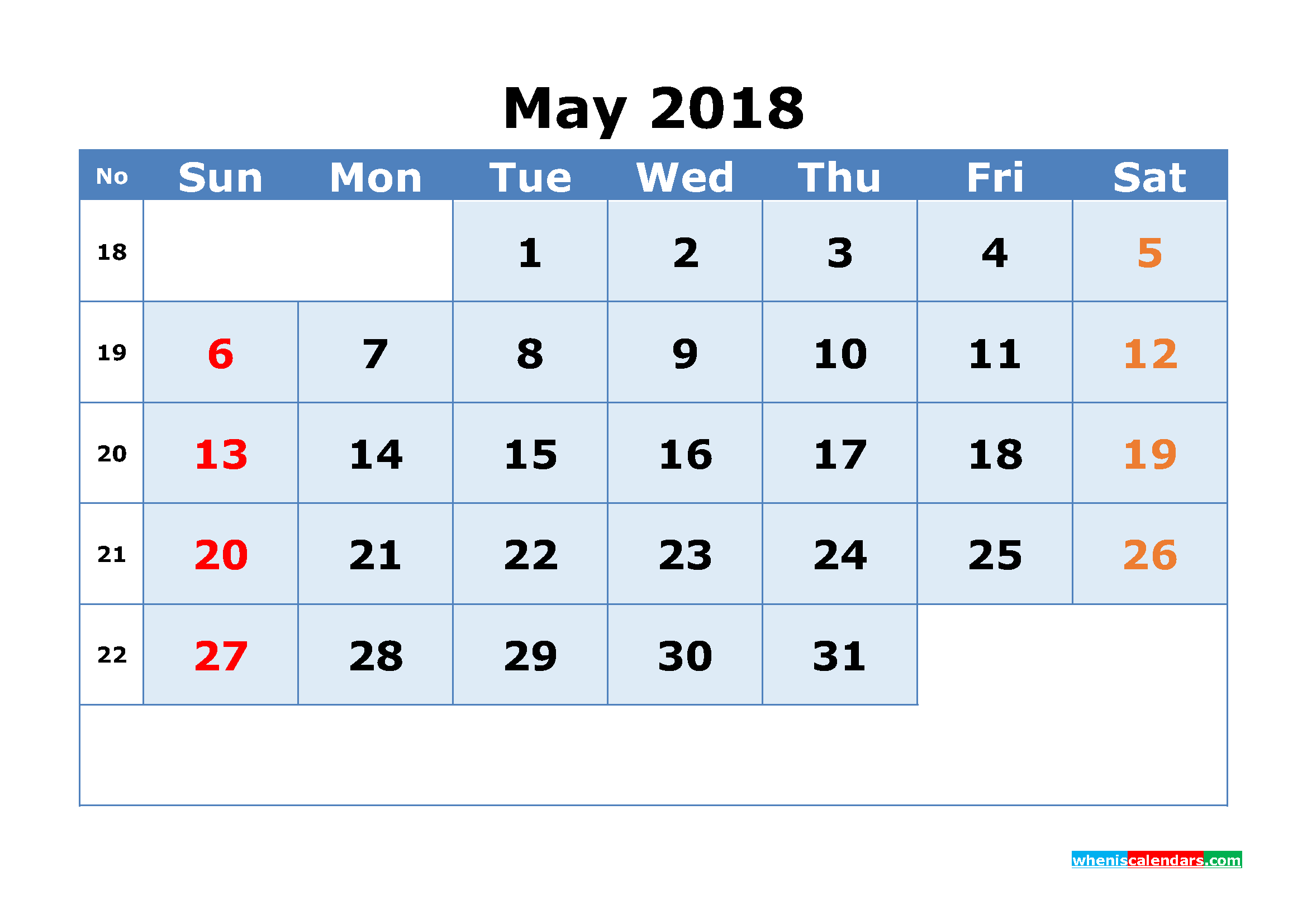 Printable Calendar May 2018 with Week Numbers as, Image