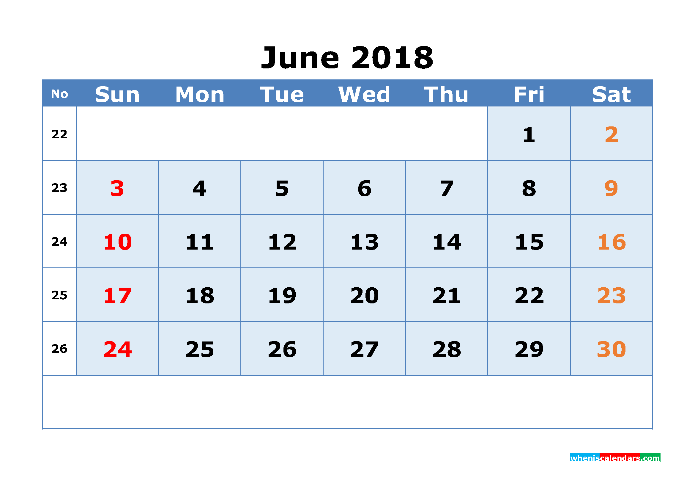 Printable Calendar June 2018 with Week Numbers as, Image