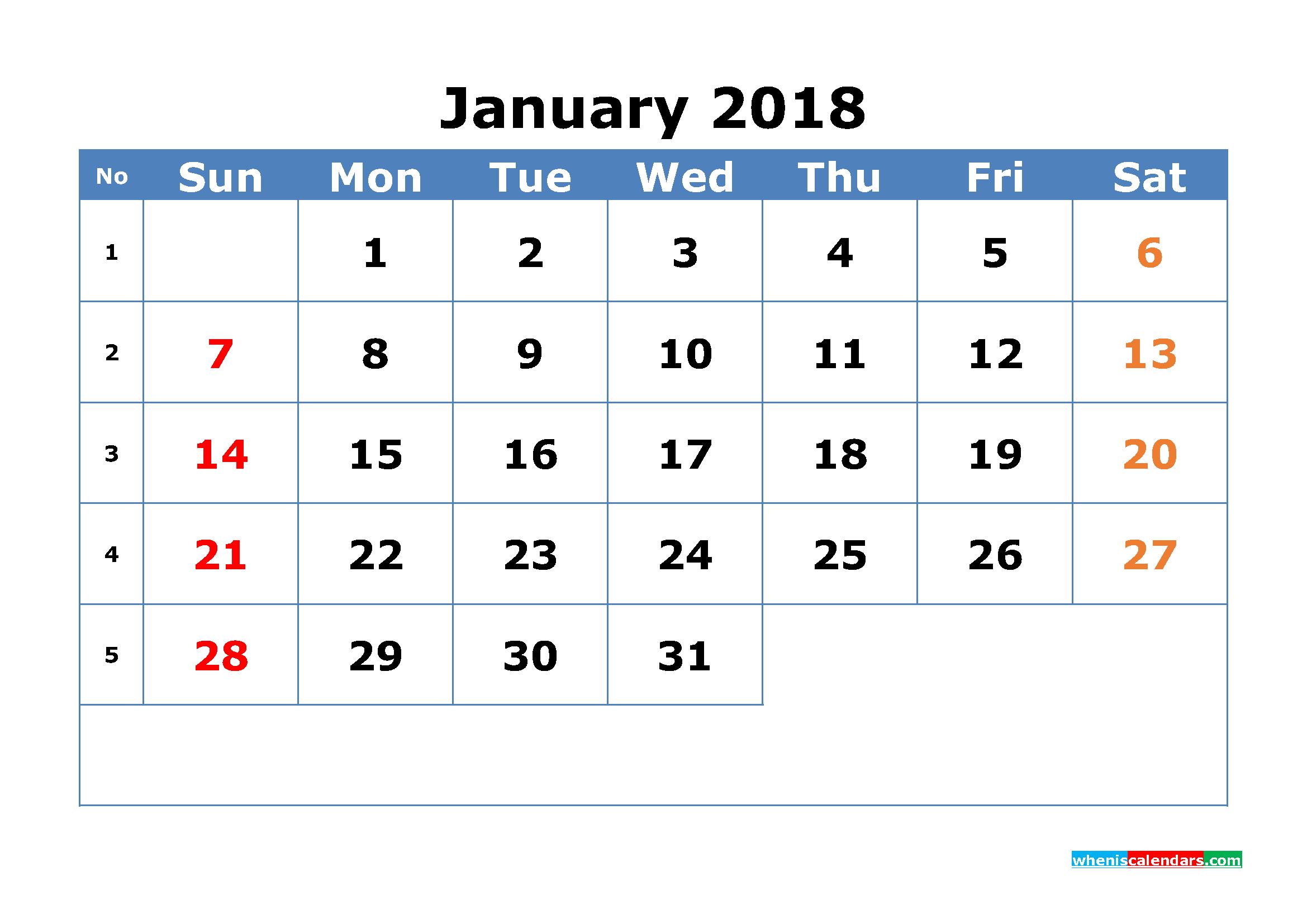 Monthly Calendar By Week : Printable calendar january with week numbers pdf