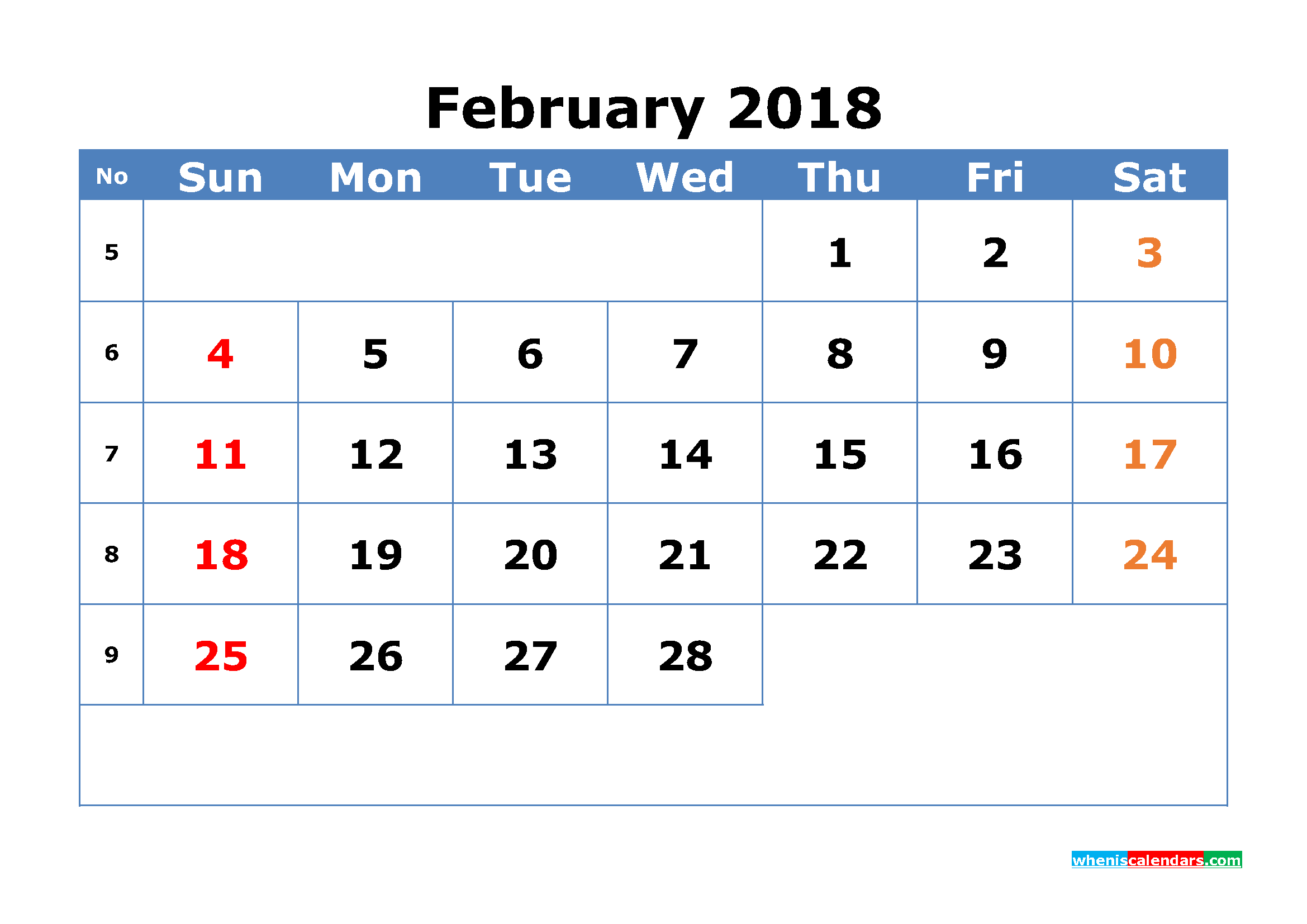 Printable Calendar February 2018 with Week Numbers Pdf, Image