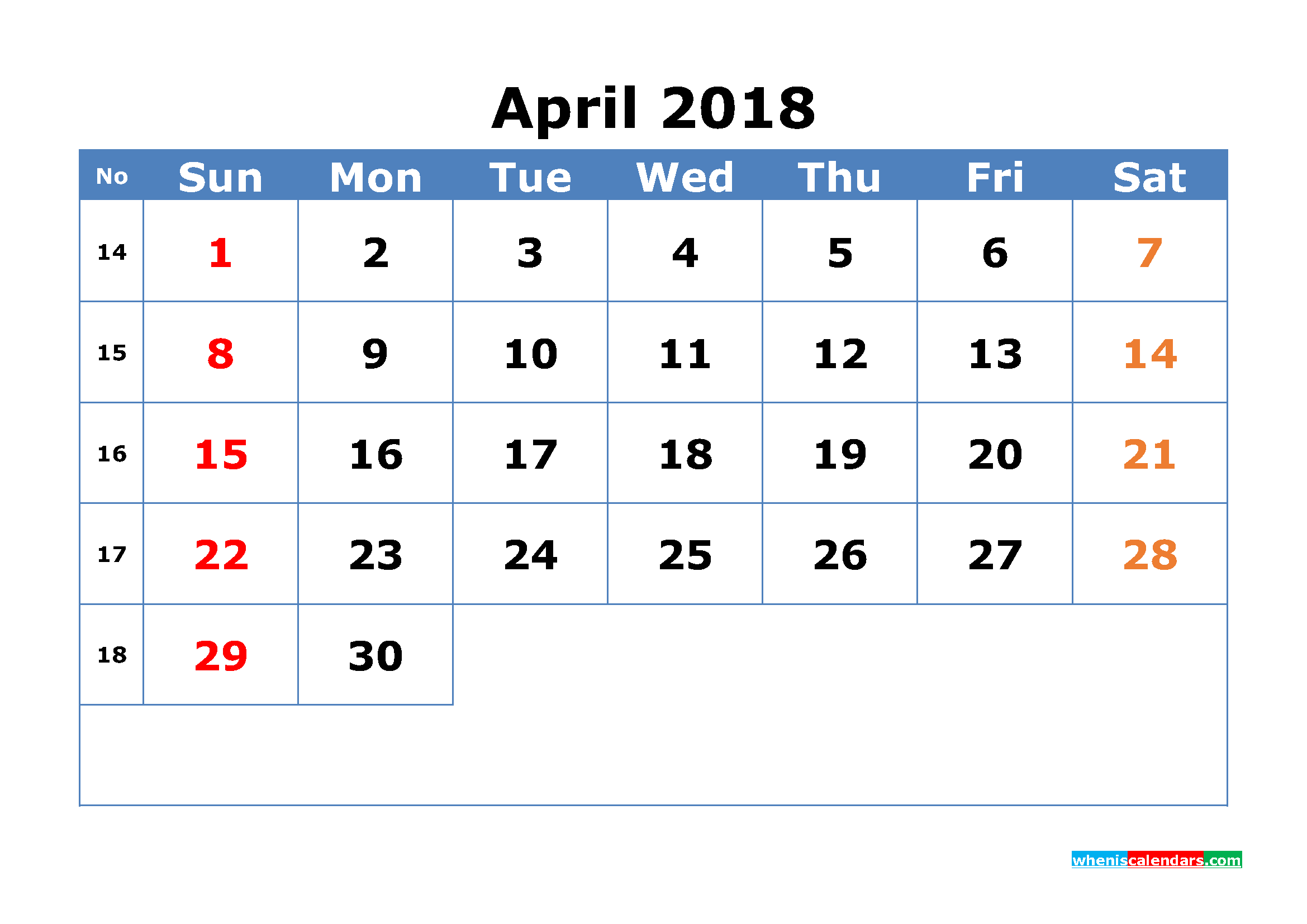 Printable Calendar April 2018 with Week Numbers Pdf, Image