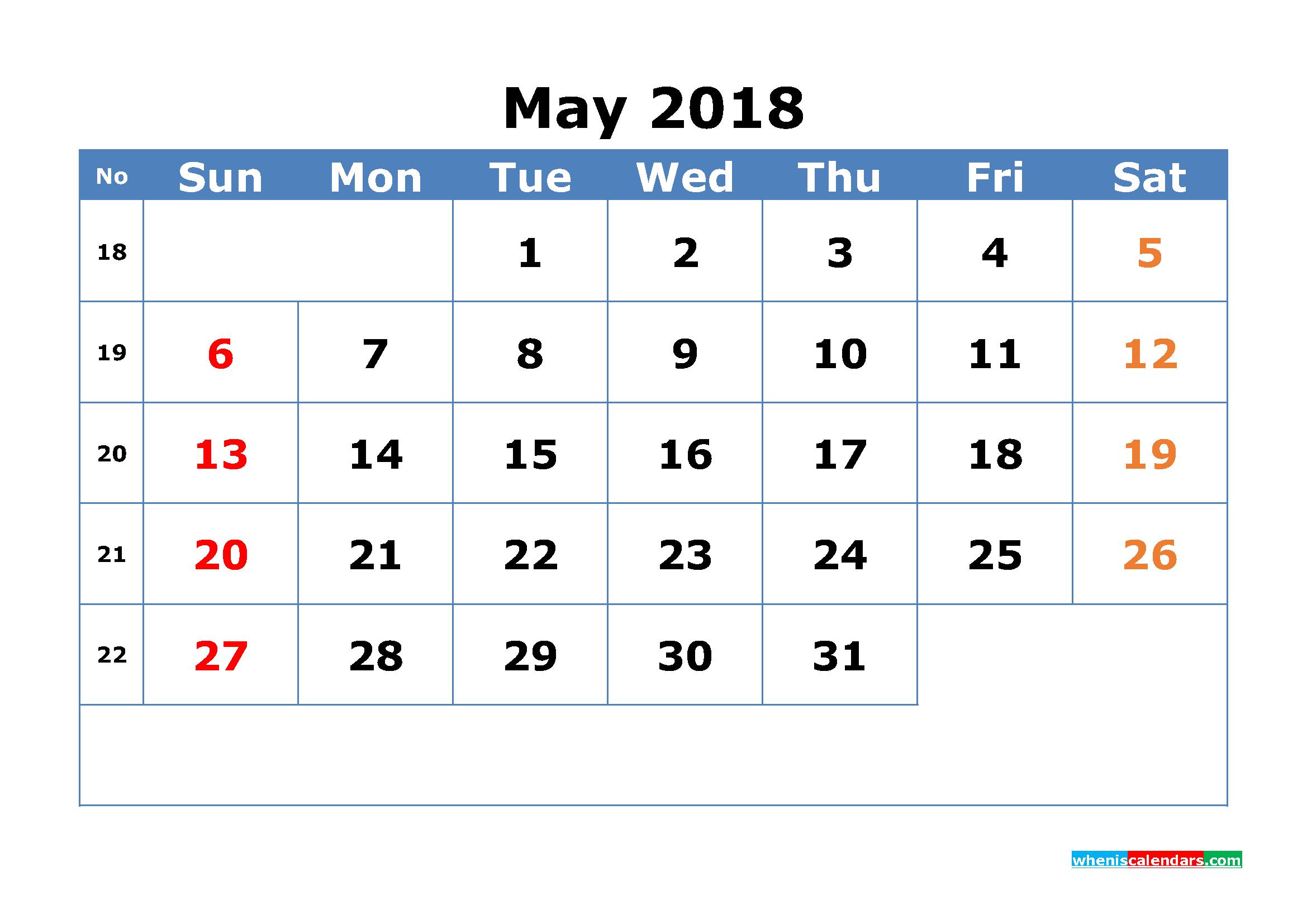 May Calendar Numbers Printable : Printable calendar may with week numbers pdf image