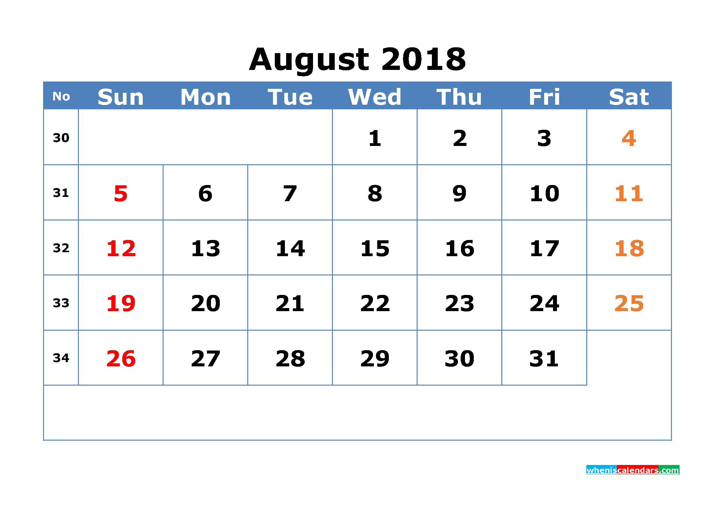 Printable Calendar August 2018 with Week Numbers Pdf, Image