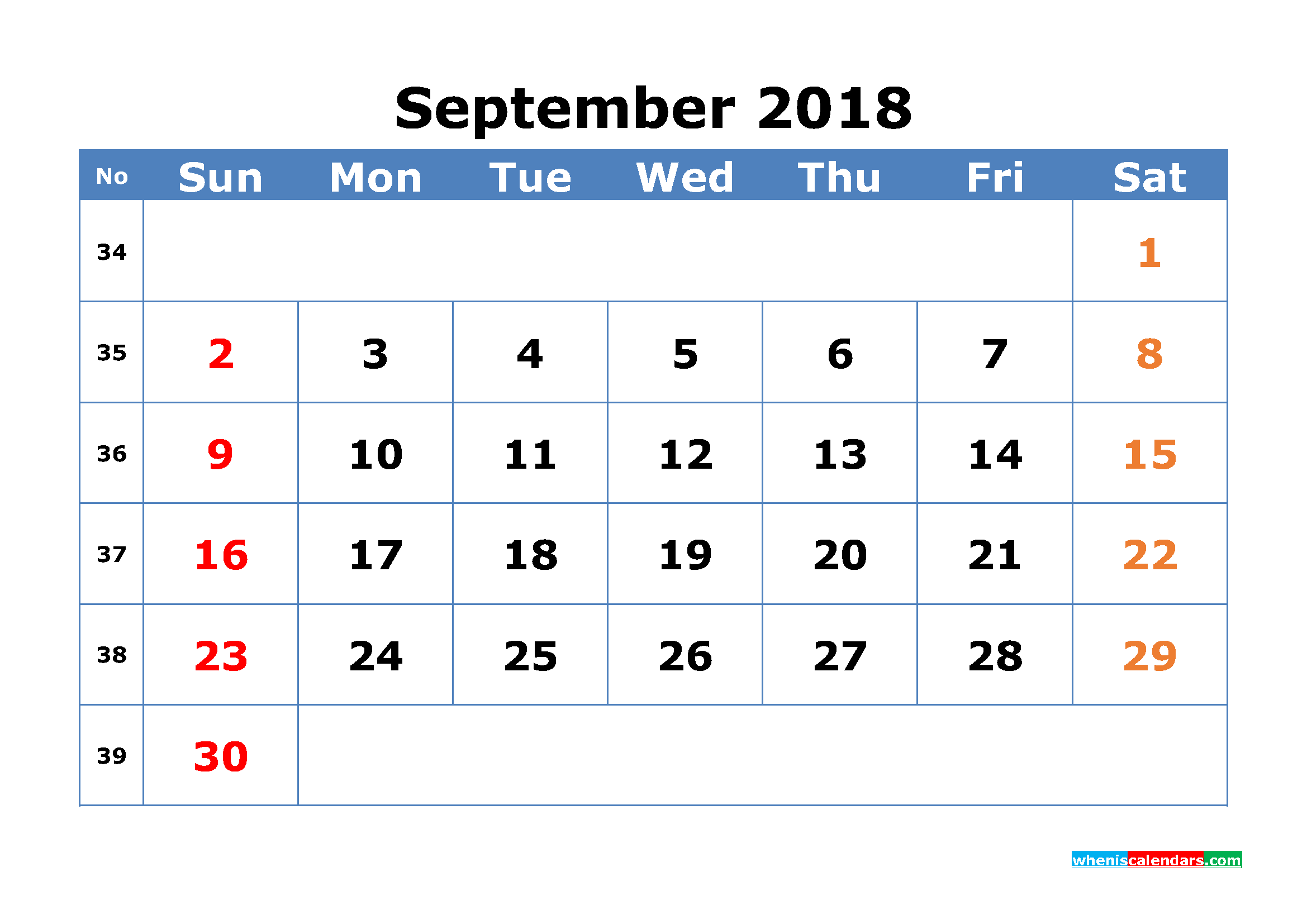 Printable Calendar September 2018 with Week Numbers Pdf, Image