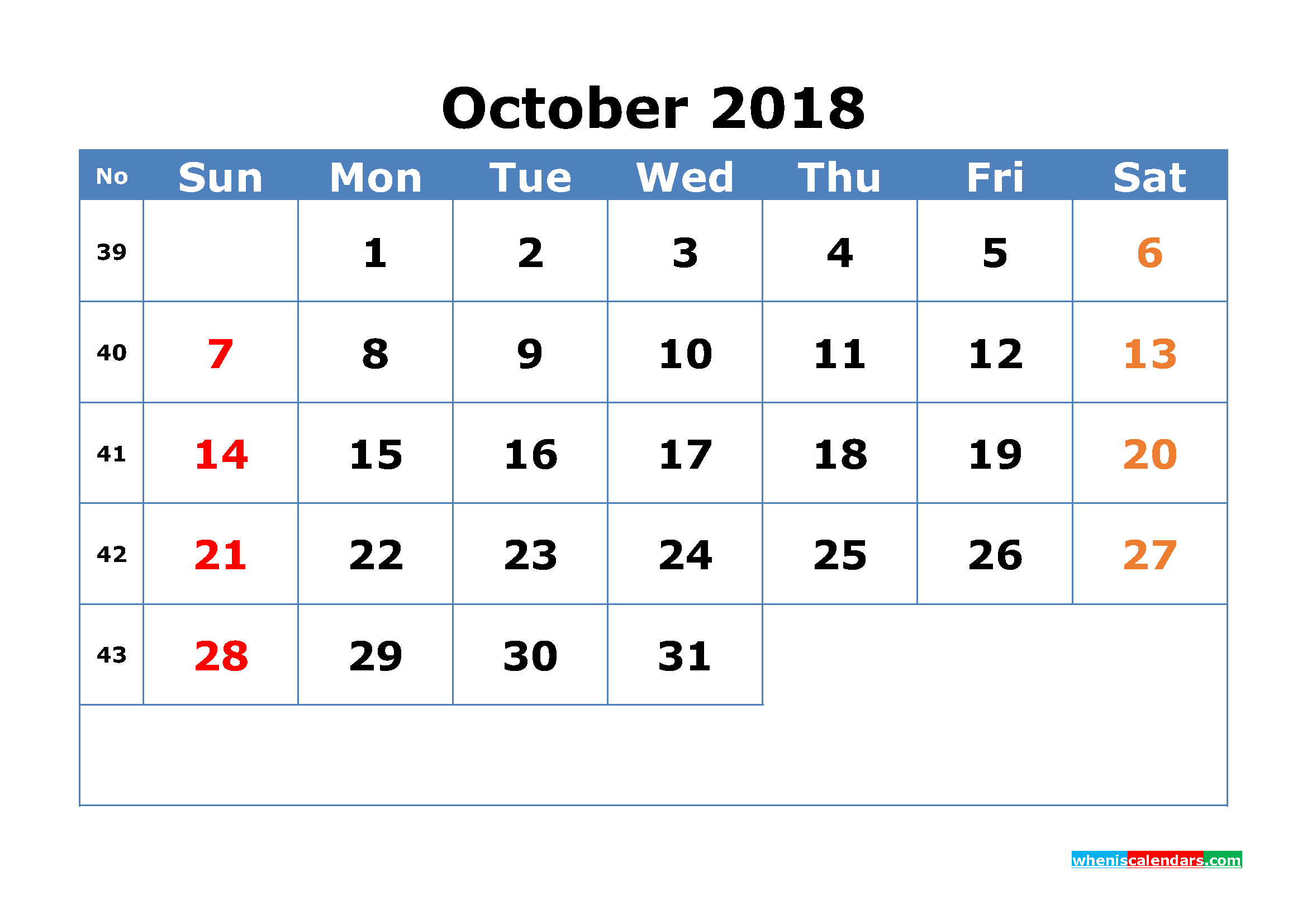 Printable Calendar October 2018 with Week Numbers Pdf, Image