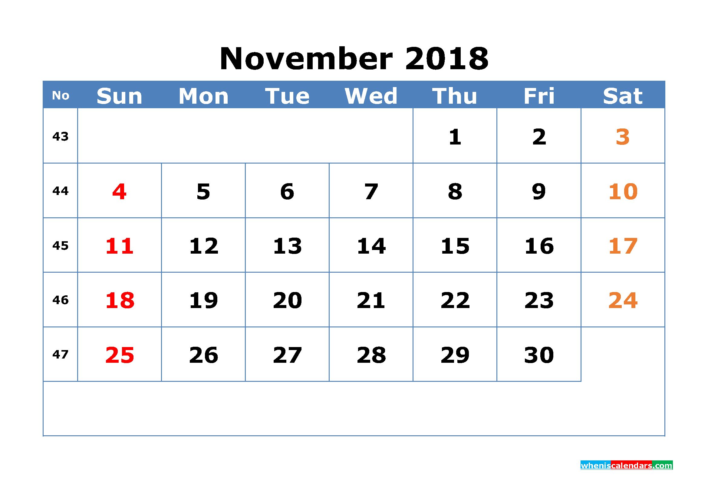 Printable Calendar November 2018 with Week Numbers Pdf, Image