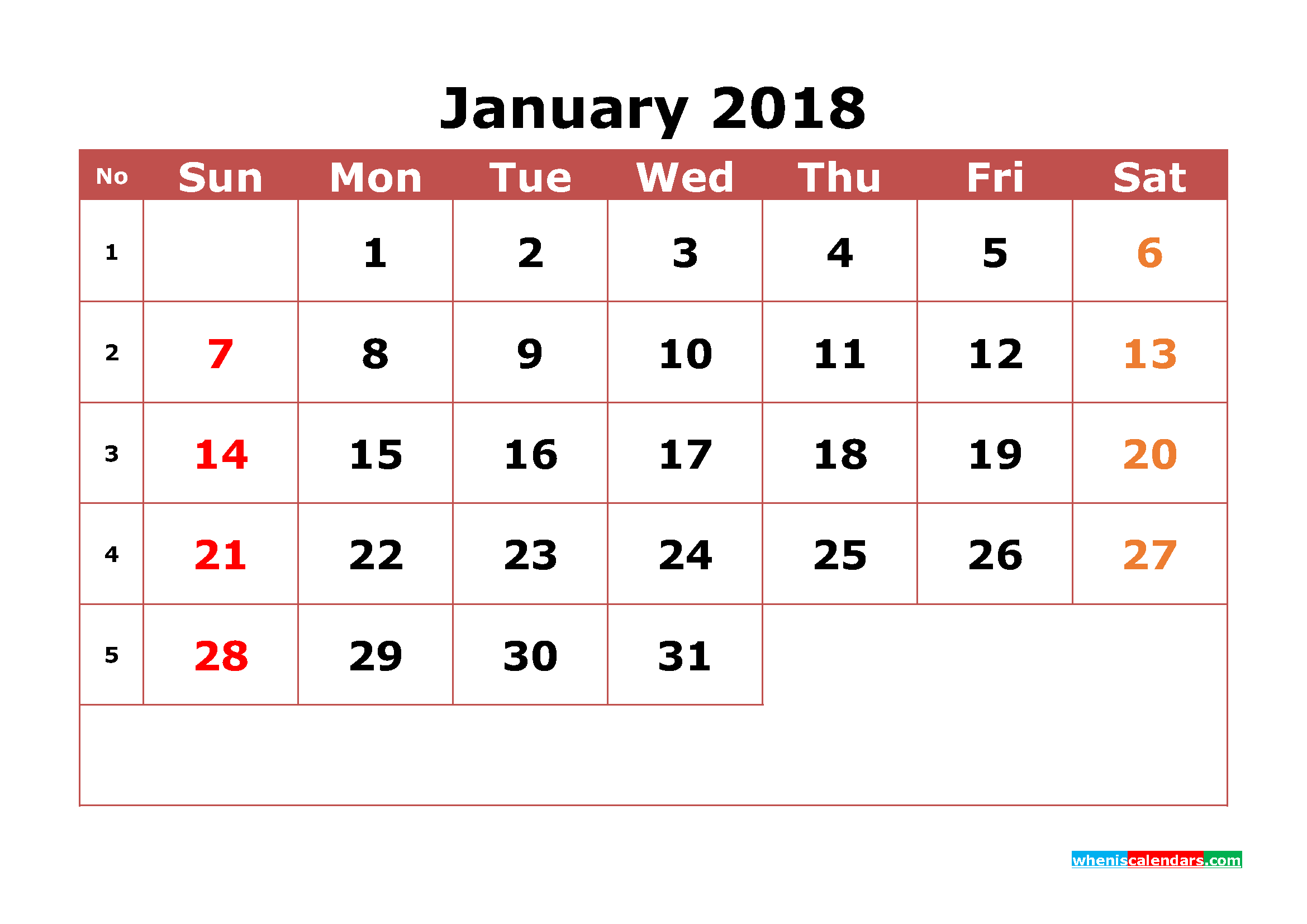 january 2018 calendar printable with week numbers image