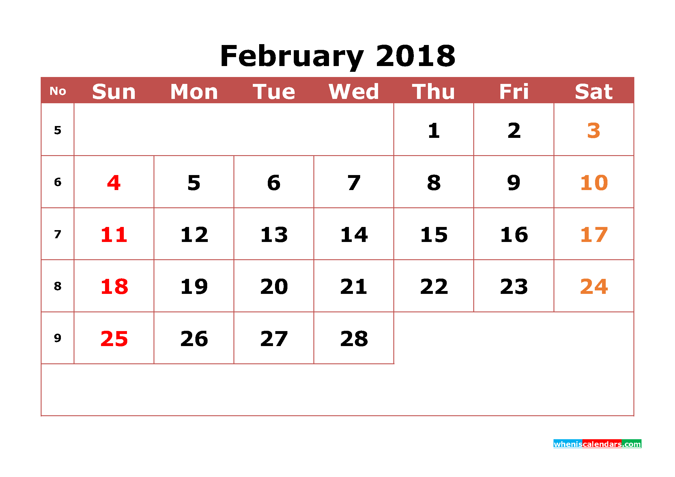 February 2018 Calendar Printable with Week Numbers Image