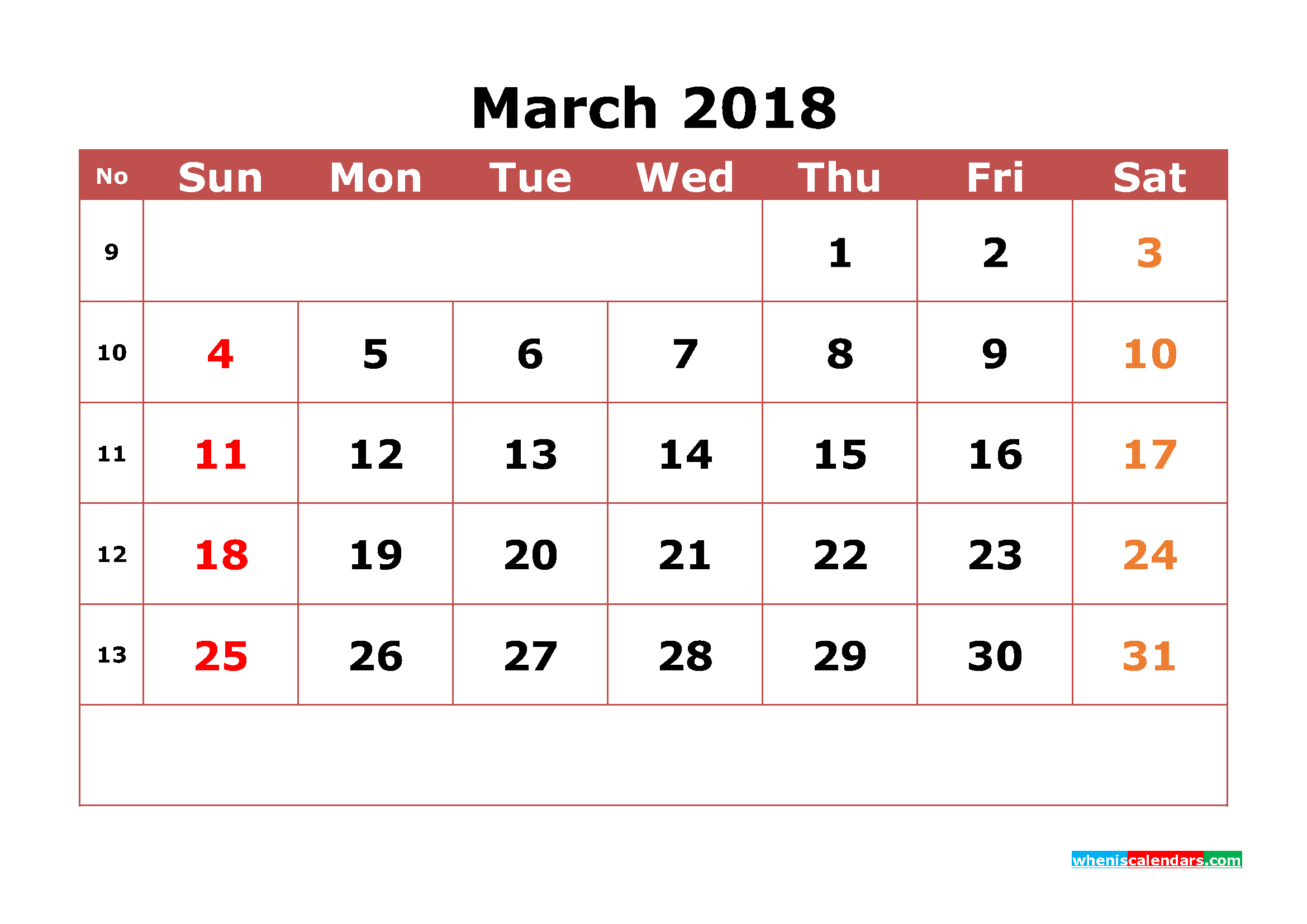 March 2018 Calendar Printable with Week Numbers Image