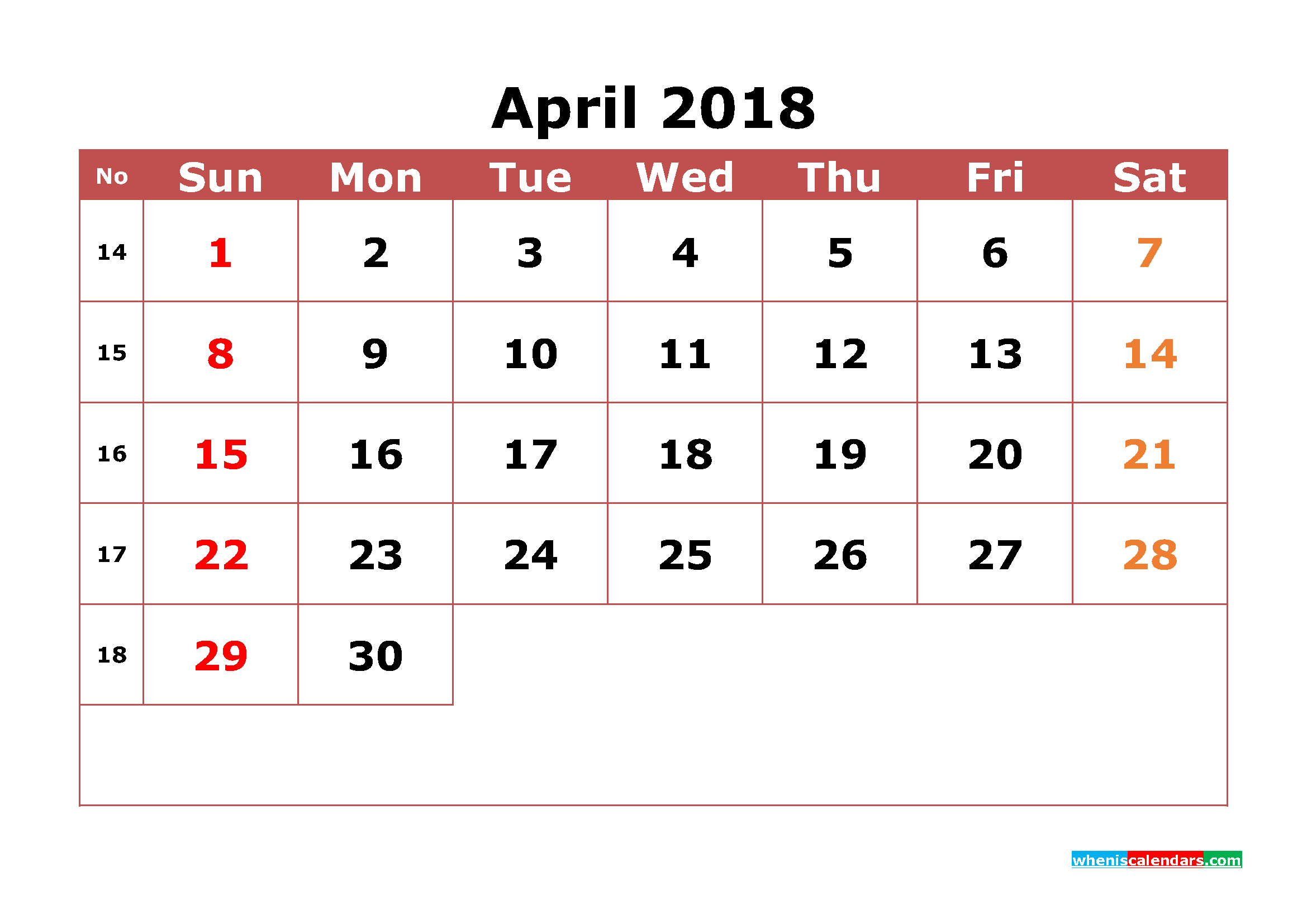 April 2018 Calendar Printable with Week Numbers Image