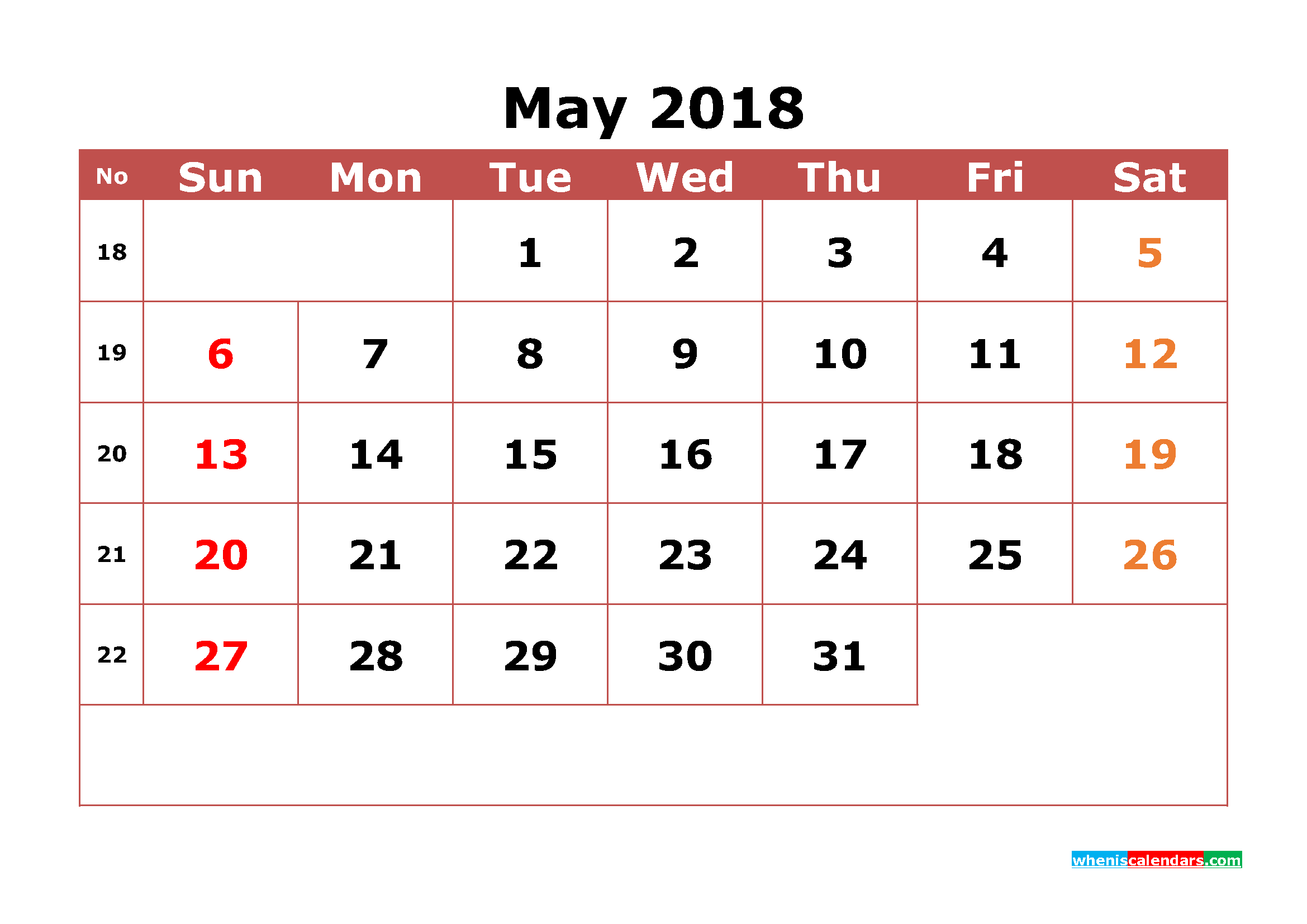 May 2018 Calendar Printable with Week Numbers Image