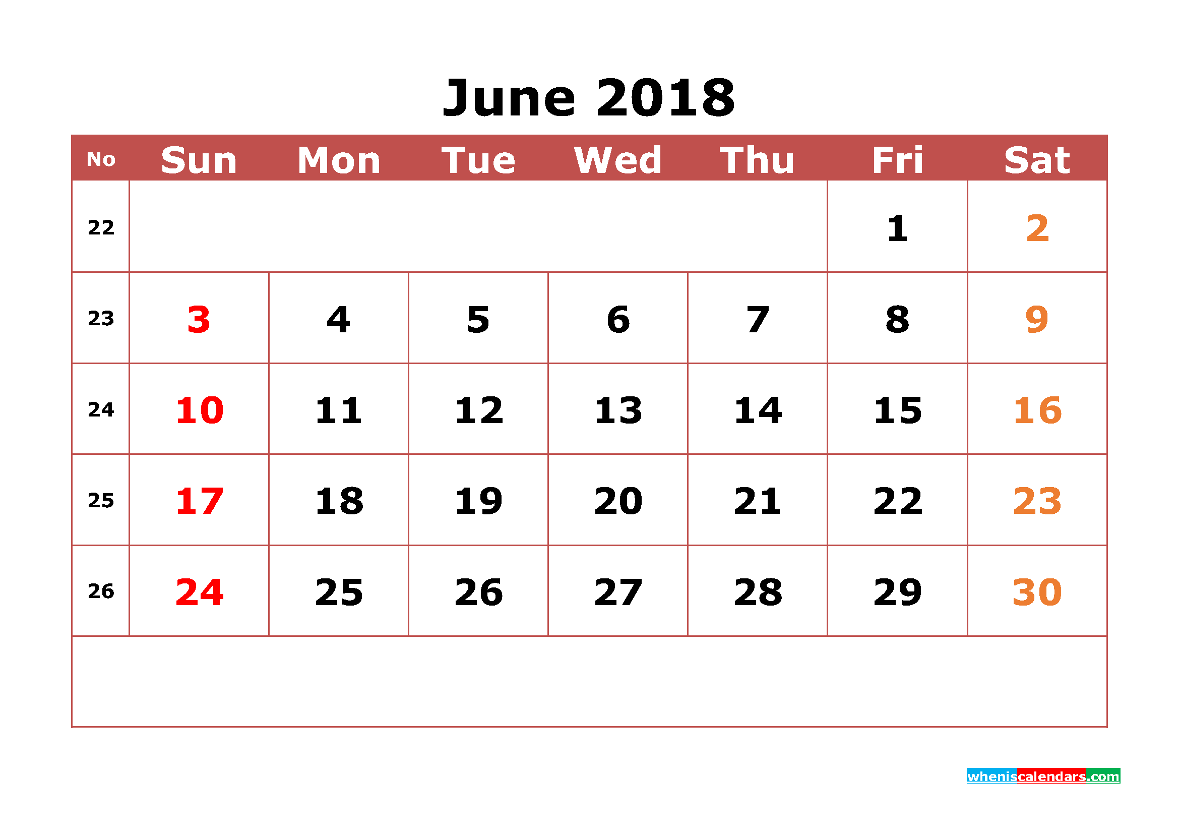June 2018 Calendar Printable with Week Numbers Image