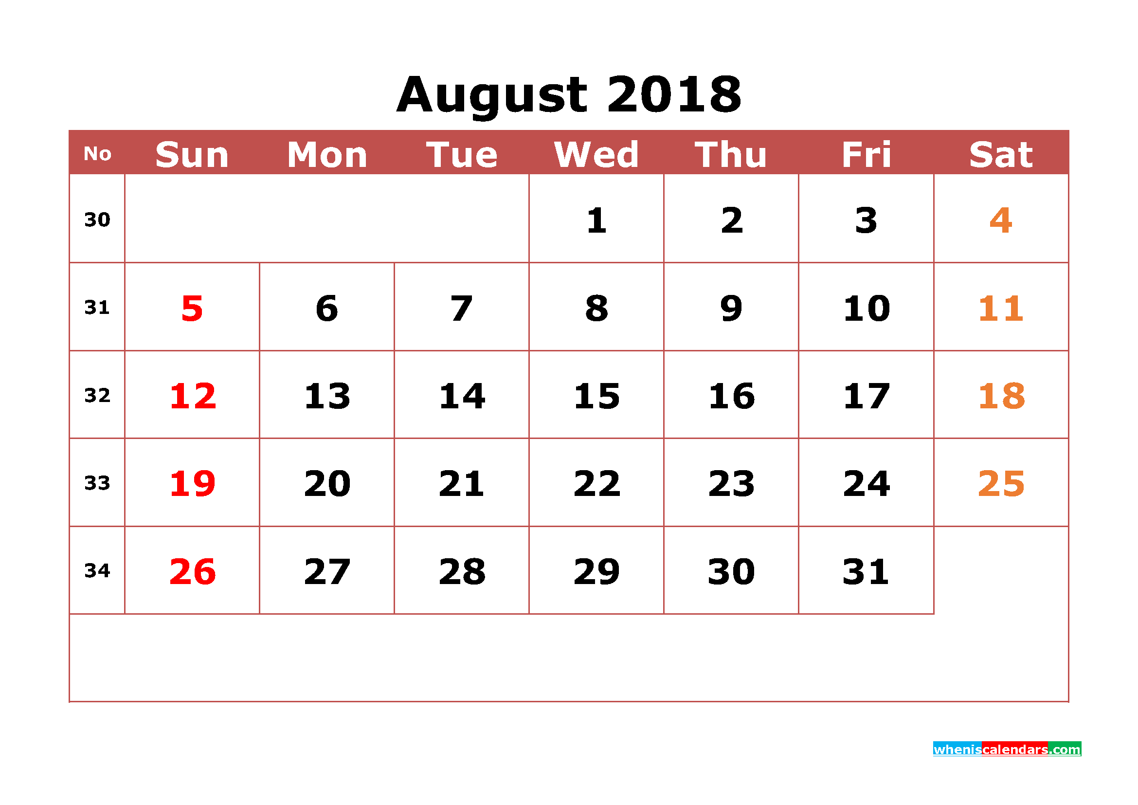 August 2018 Calendar Printable with Week Numbers Image