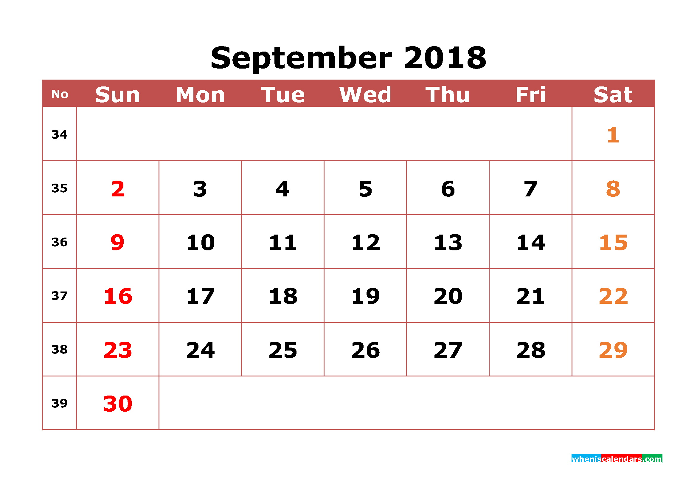 September 2018 Calendar Printable with Week Numbers Image