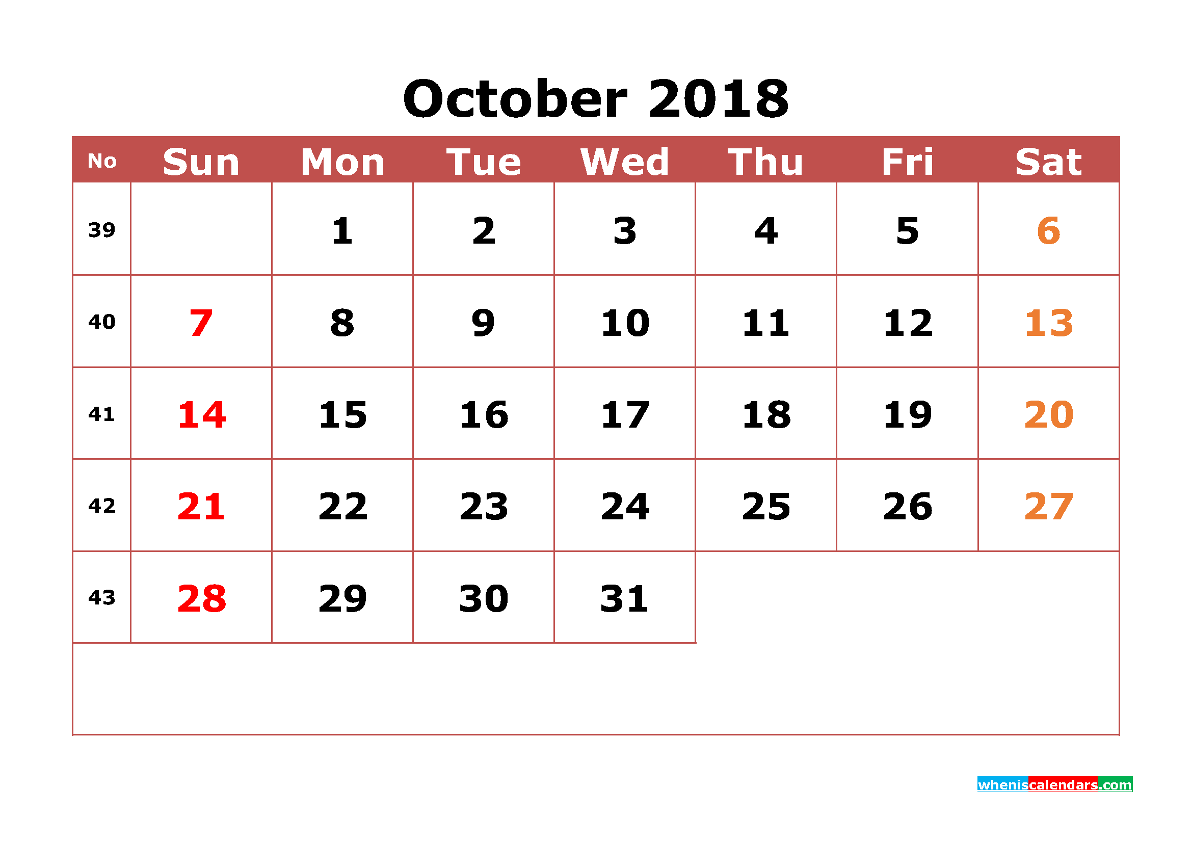 October 2018 Calendar Printable with Week Numbers Image
