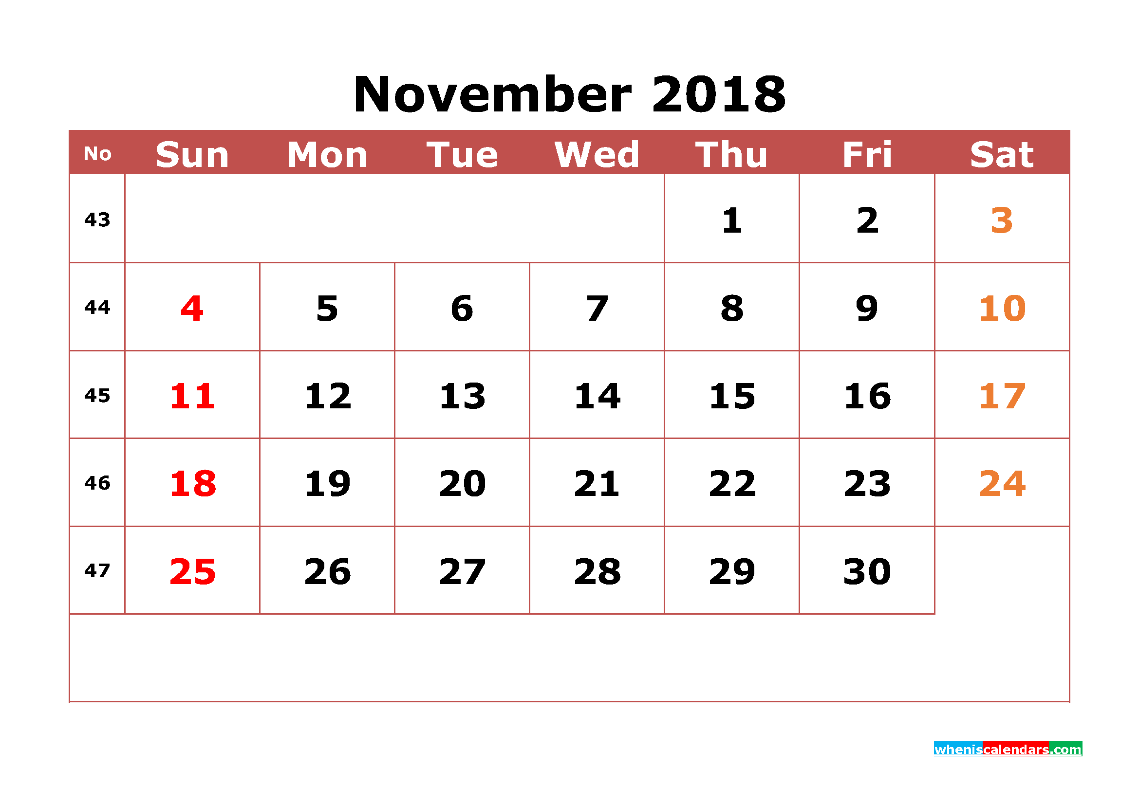 November 2018 Calendar Printable with Week Numbers Image