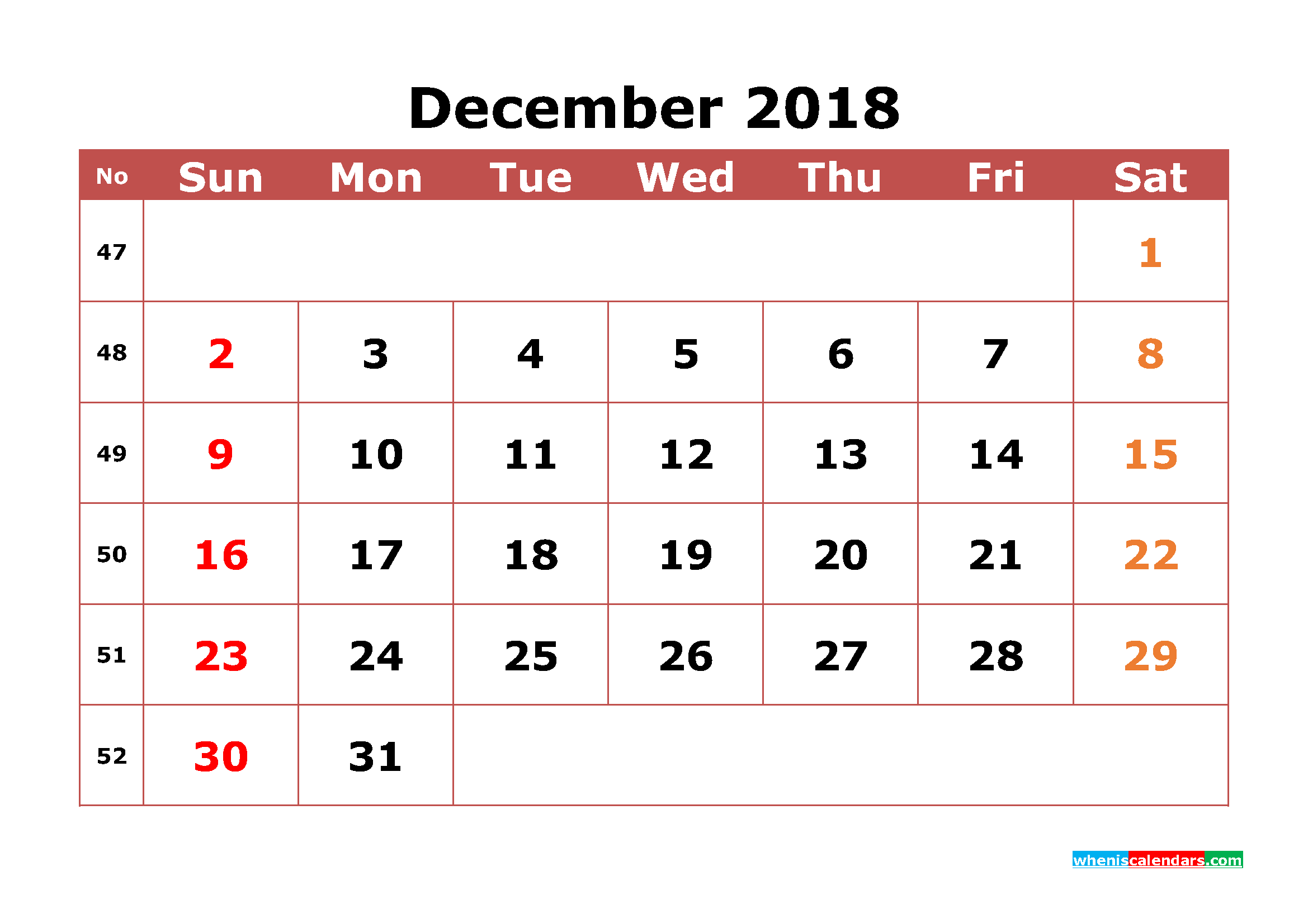 December 2018 Calendar Printable with Week Numbers Image