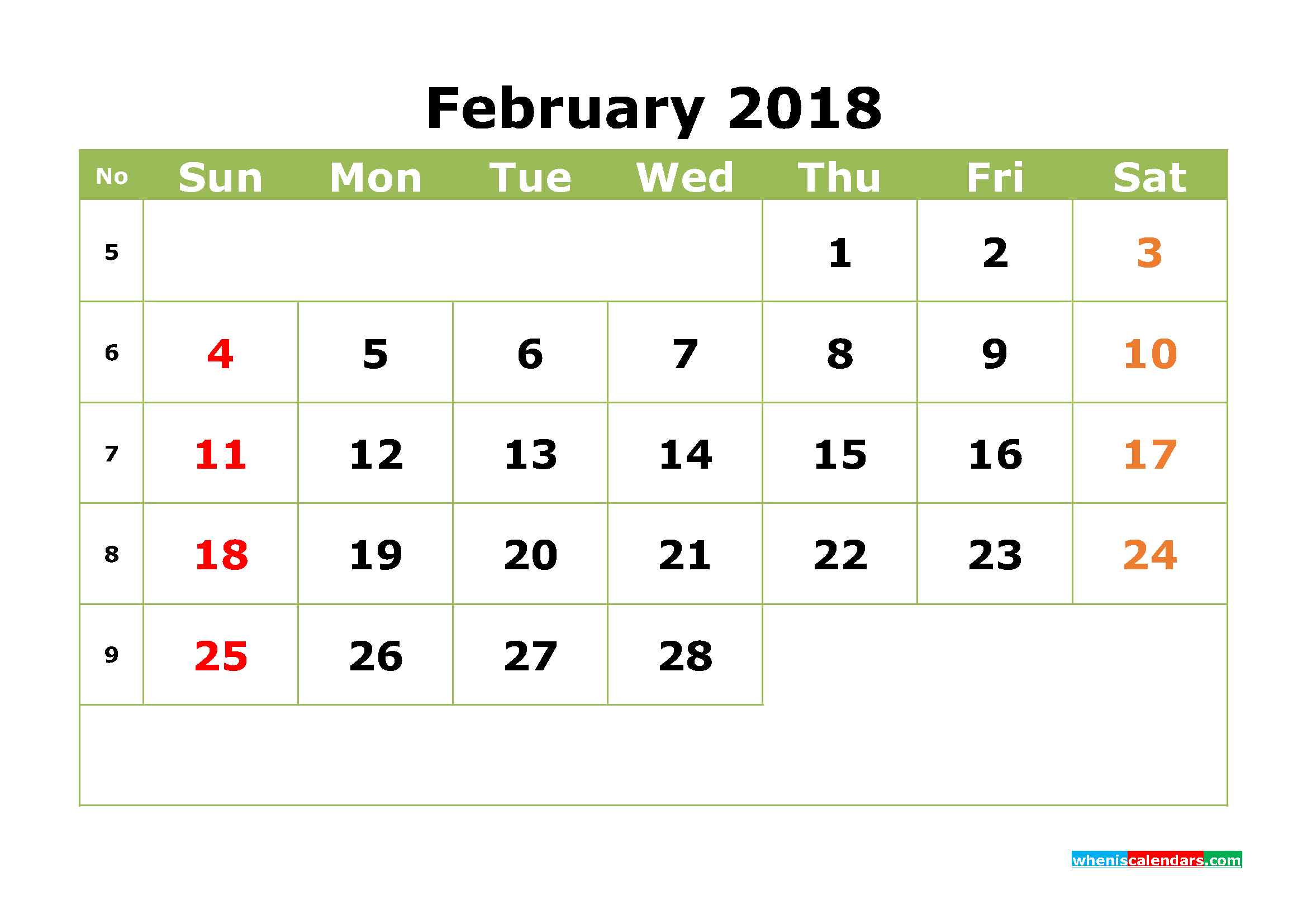February 2018 Calendar Printable Monthly Calendar with Week Numbers