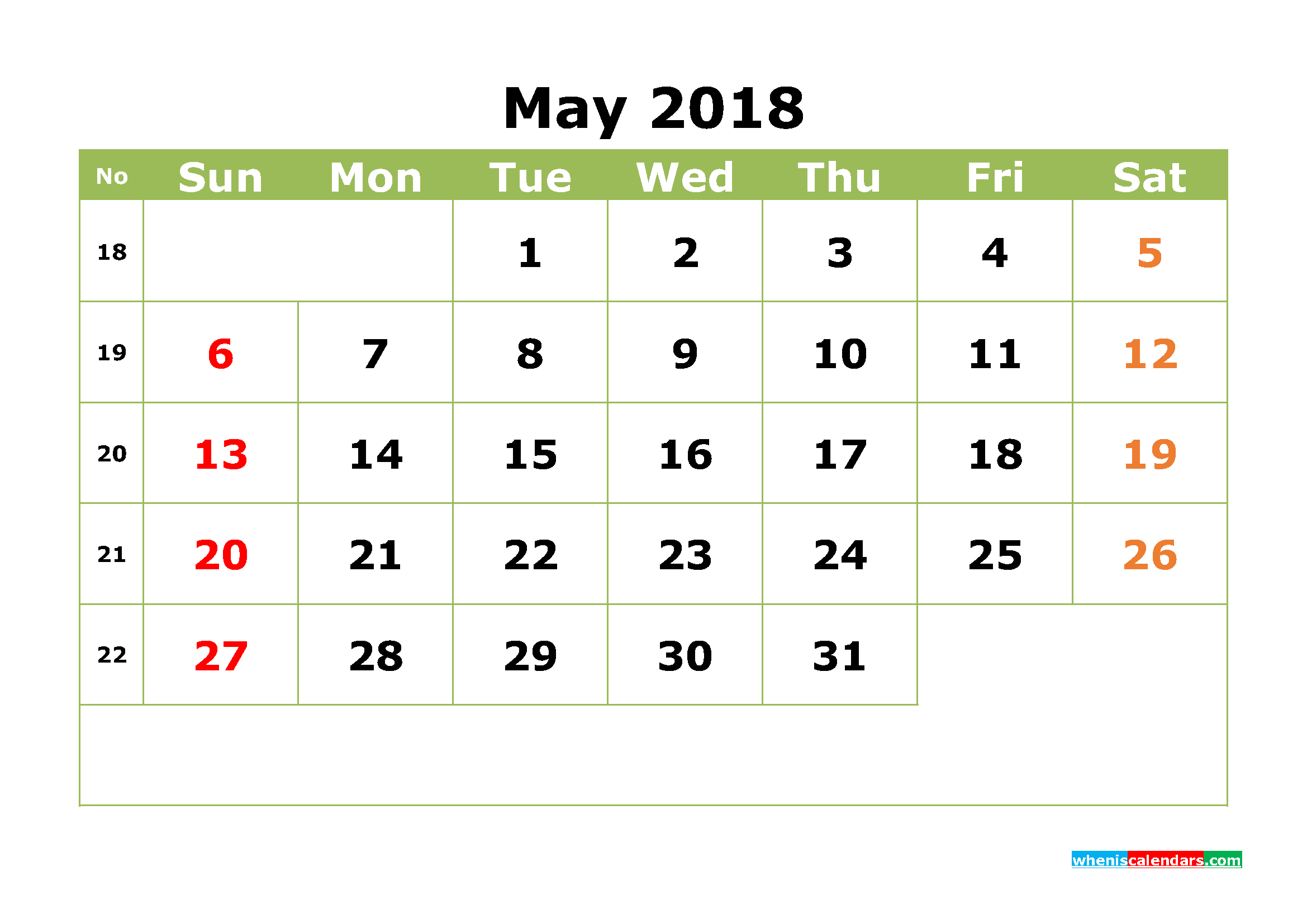 May 2018 Calendar Printable Monthly Calendar with Week Numbers