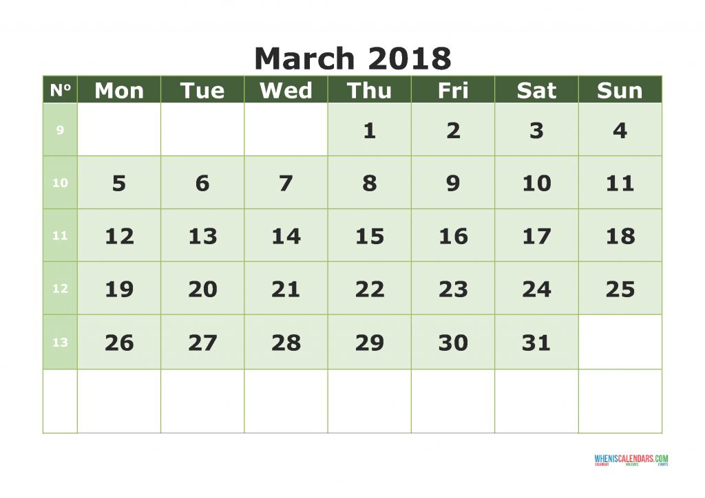 Printable Calendar March 2018 with week numbers, week day begin on Monday