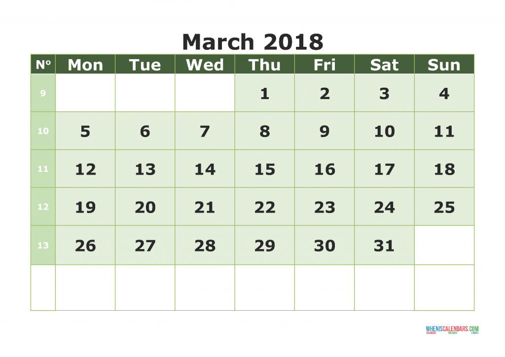 Printable Calendar March 2018 with week numbers, week day begin on Monday