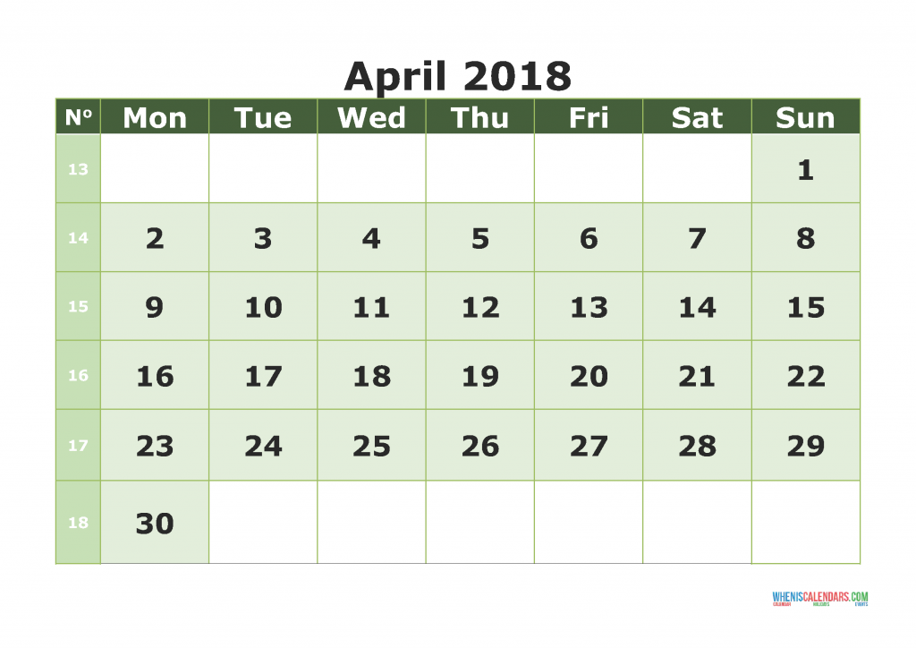 Printable Calendar April 2018 with week numbers, week day begin on Monday