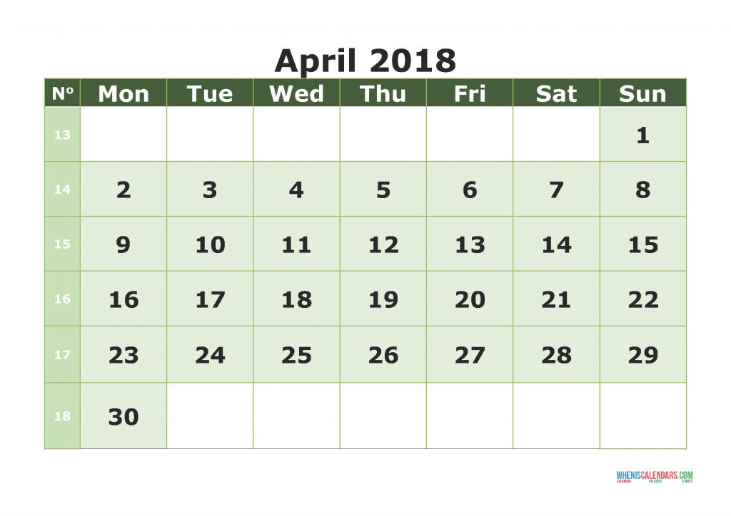 Printable Calendar April 2018 with week numbers, week day begin on Monday