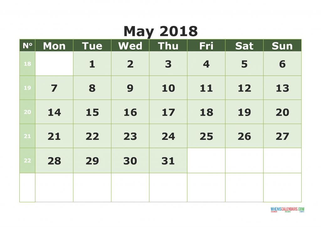 Printable Calendar May 2018 with week numbers, week day begin on Monday