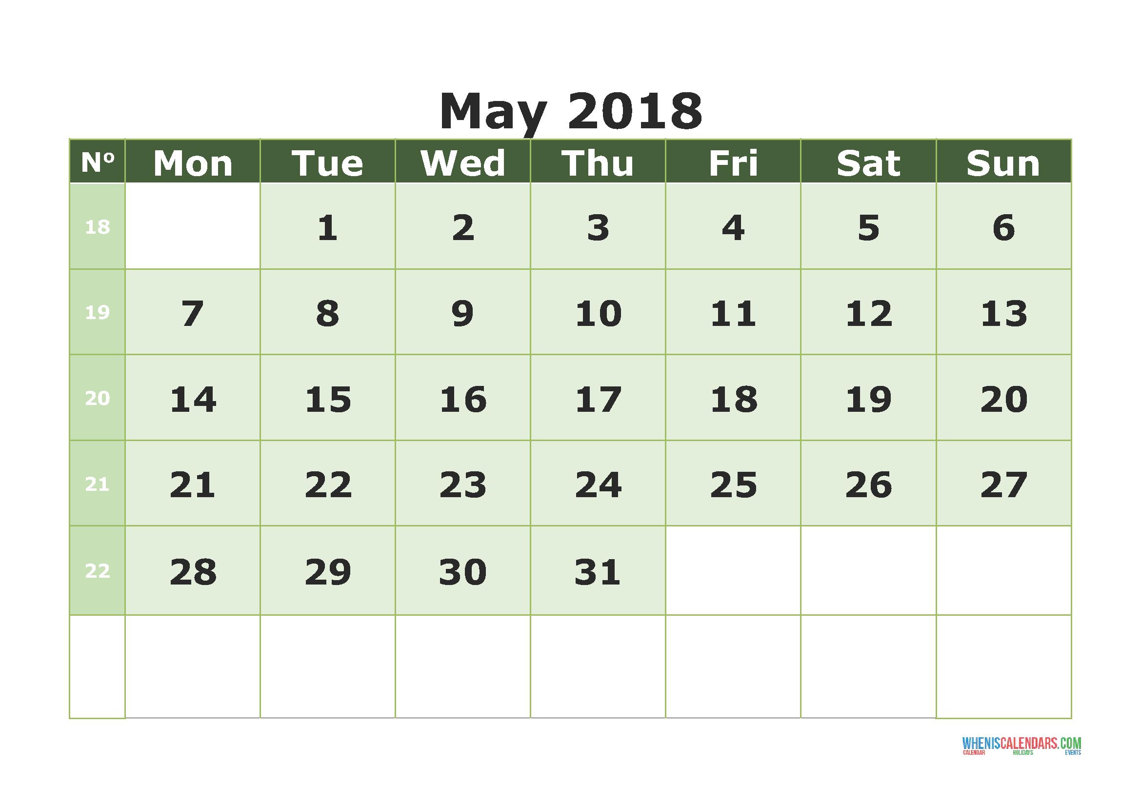 printable calendar may 2018 with week numbers monday 2019
