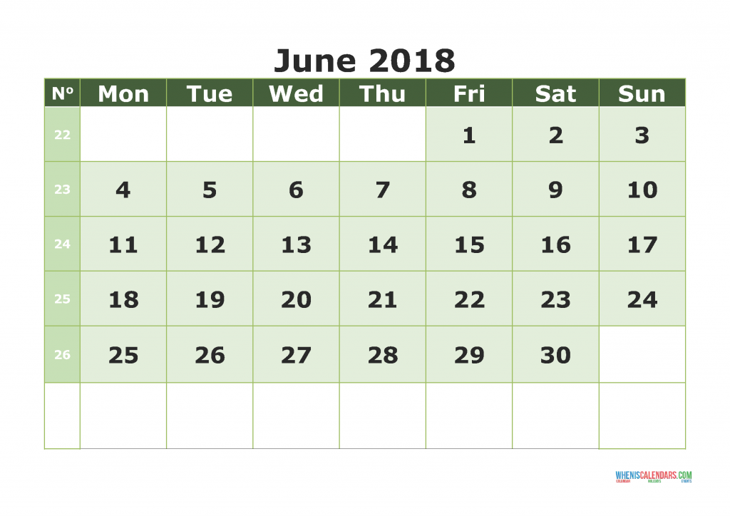Printable Calendar June 2018 with week numbers, week day begin on Monday