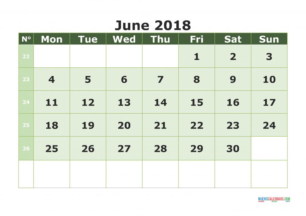 Printable Calendar June 2018 with week numbers, week day begin on Monday