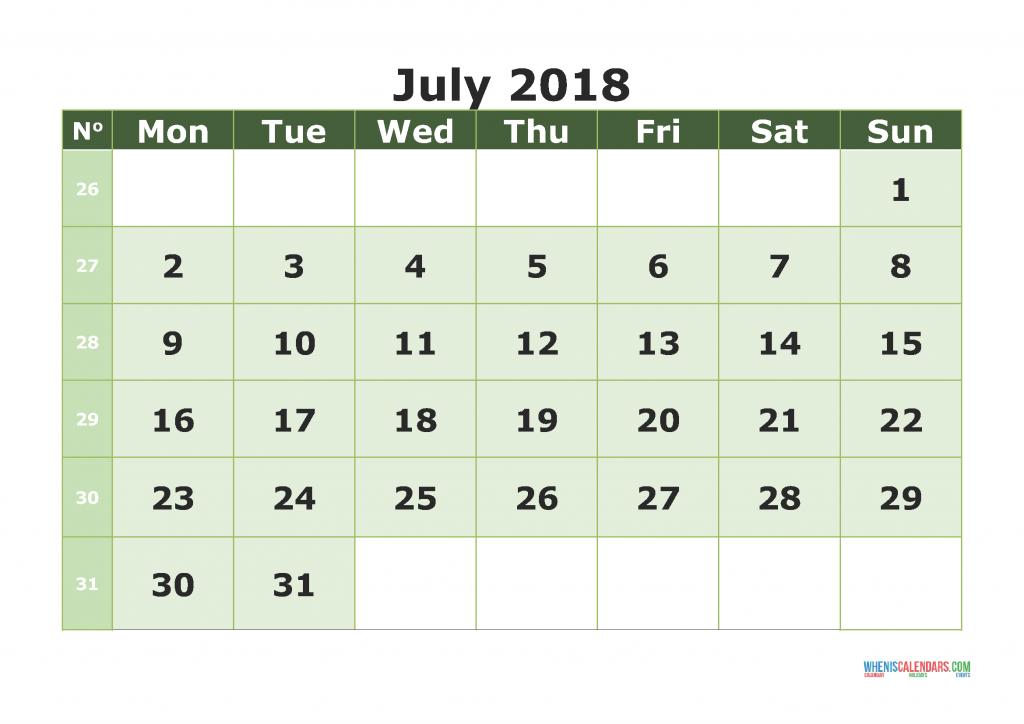 Printable Calendar July 2018 with week numbers, week day begin on Monday