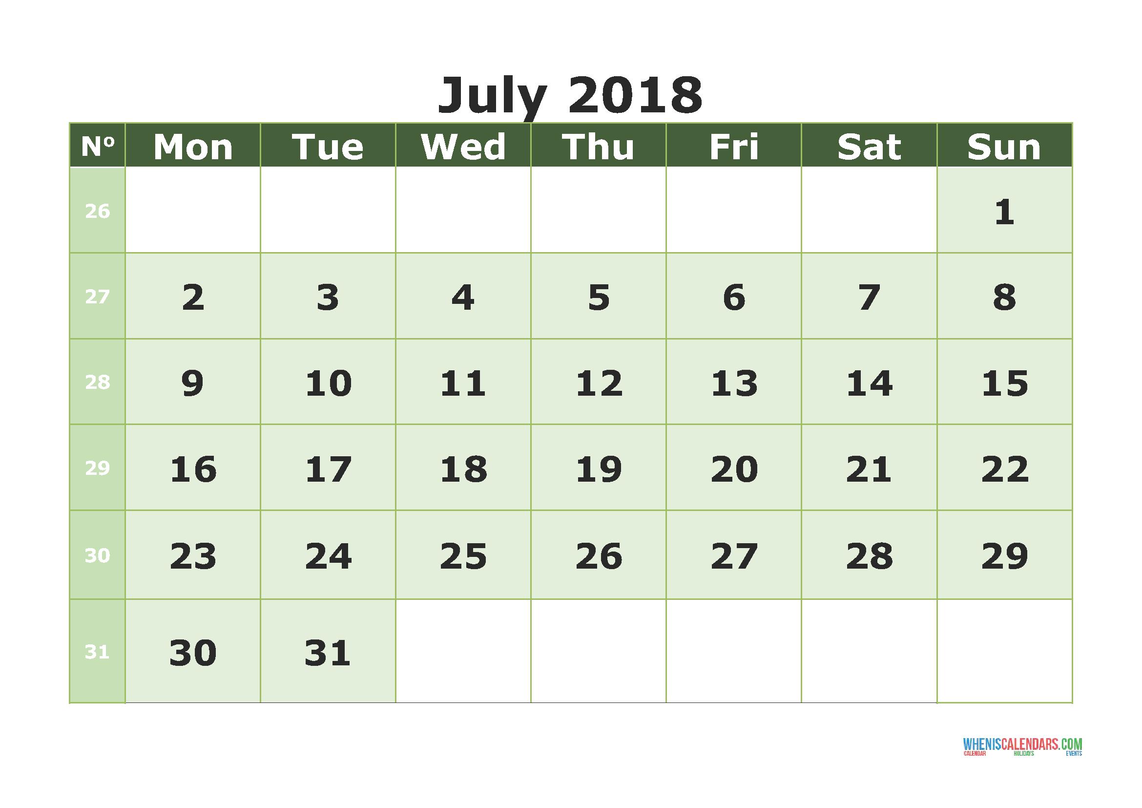 Printable Calendar July 2018 with week numbers (Monday