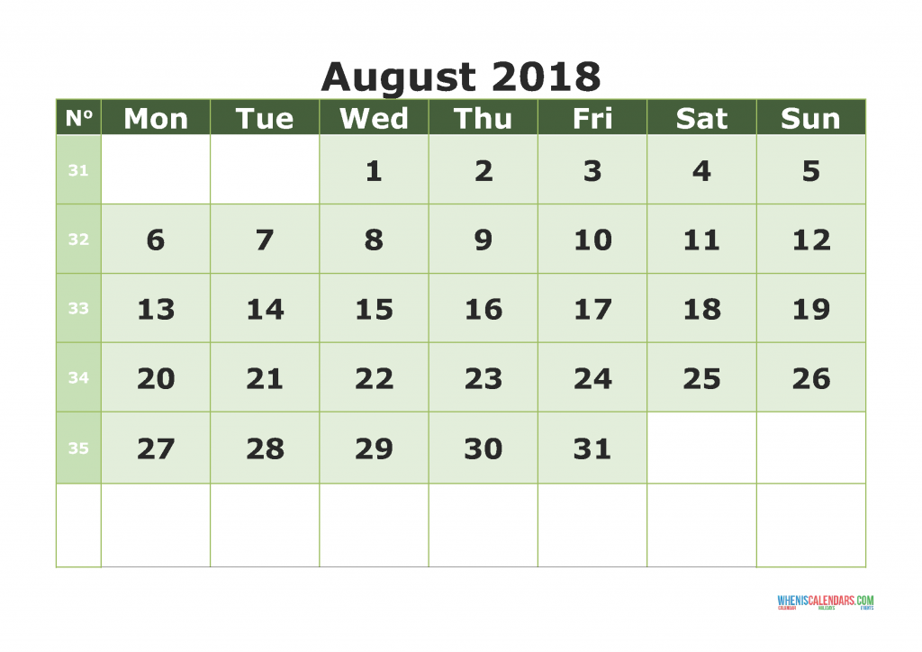 Printable Calendar August 2018 with week numbers, week day begin on Monday