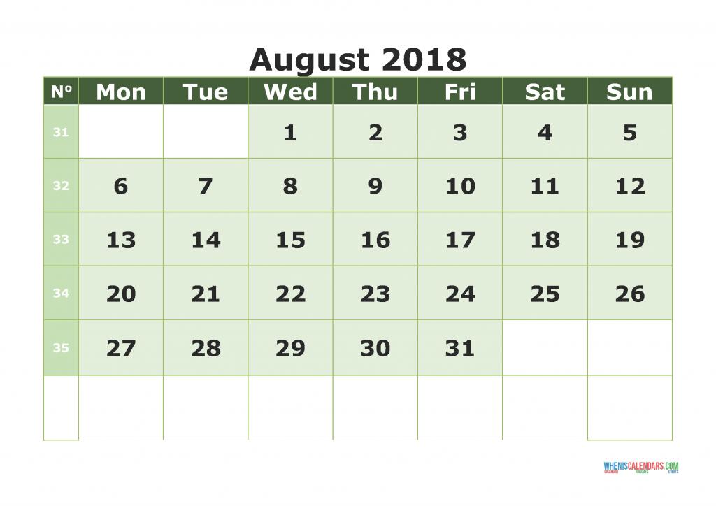 Printable Calendar August 2018 with week numbers, week day begin on Monday