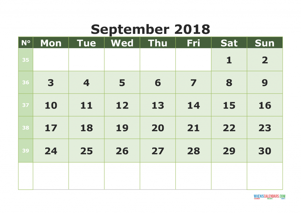 Printable Calendar September 2018 with week numbers, week day begin on Monday