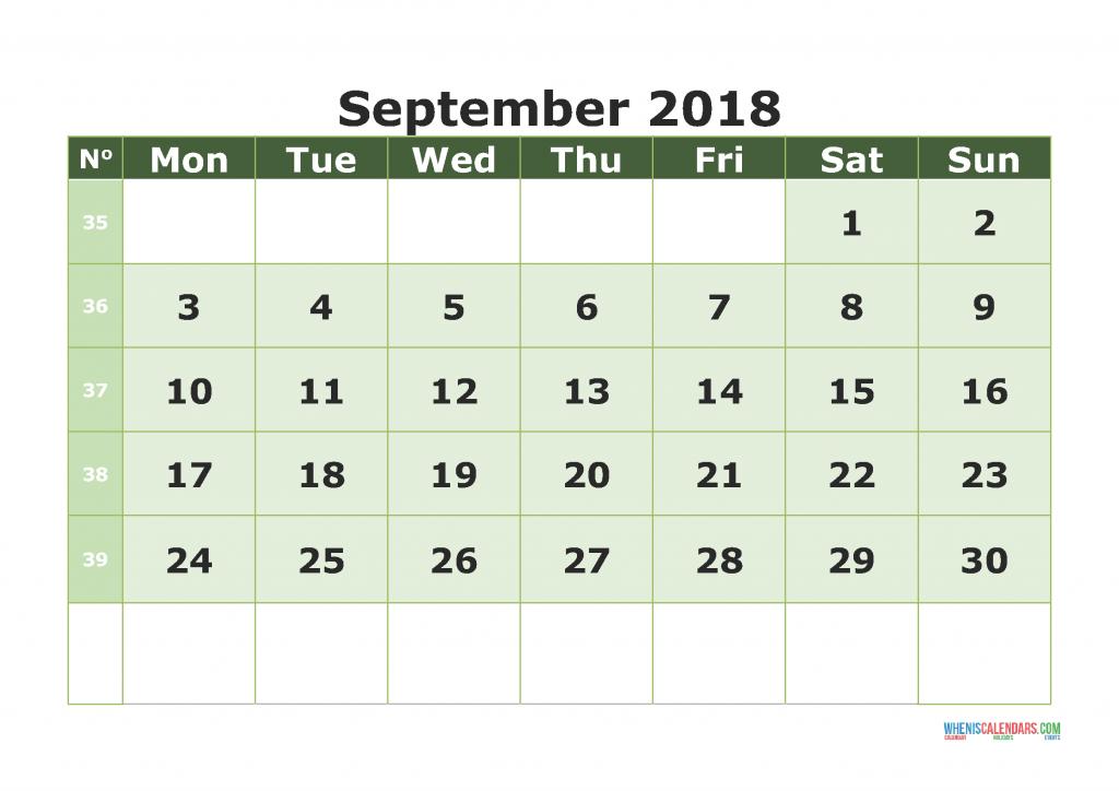 Printable Calendar September 2018 with week numbers, week day begin on Monday