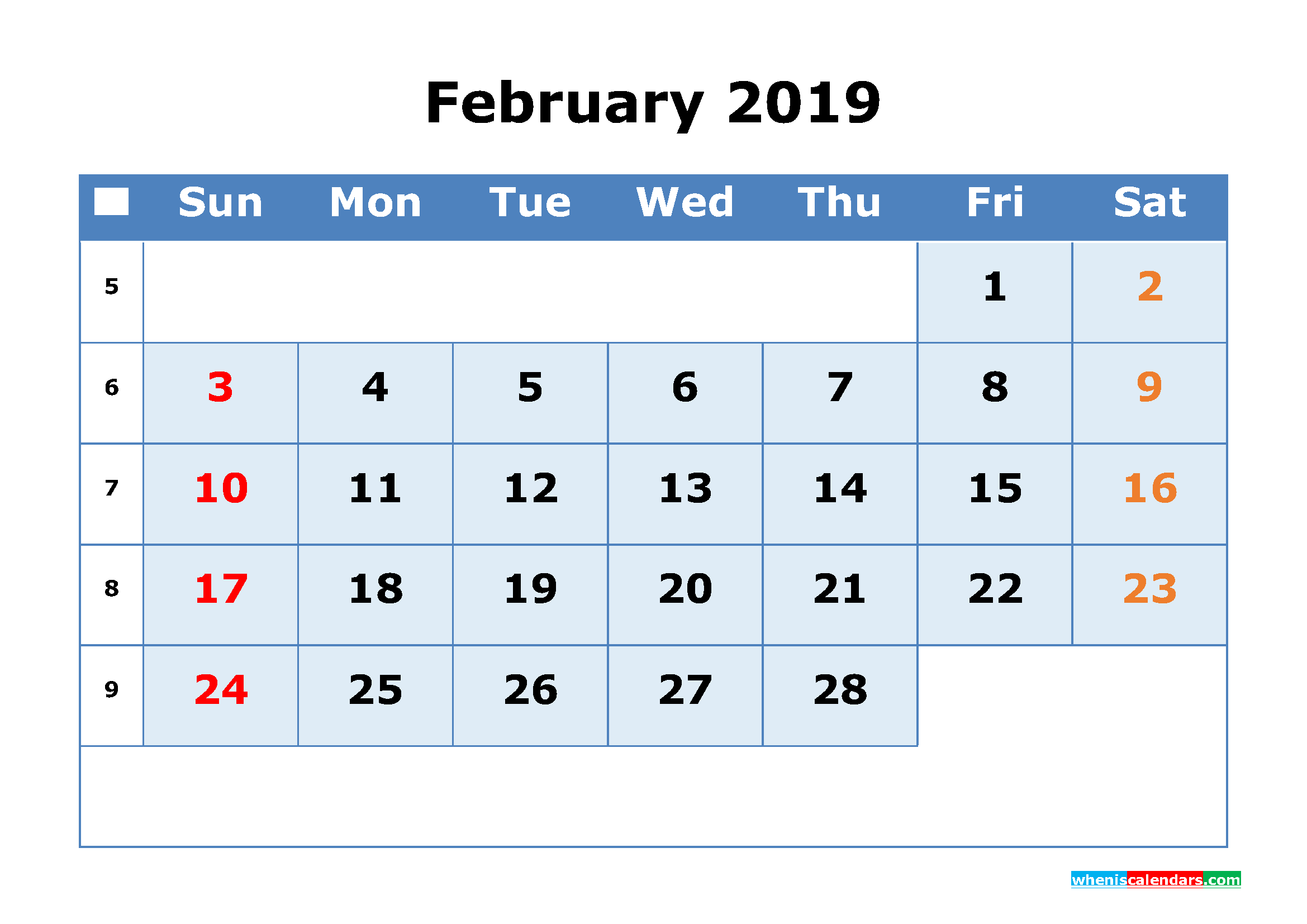 February 2019 Printable Calendar with Week Numbers as PDF, JPG