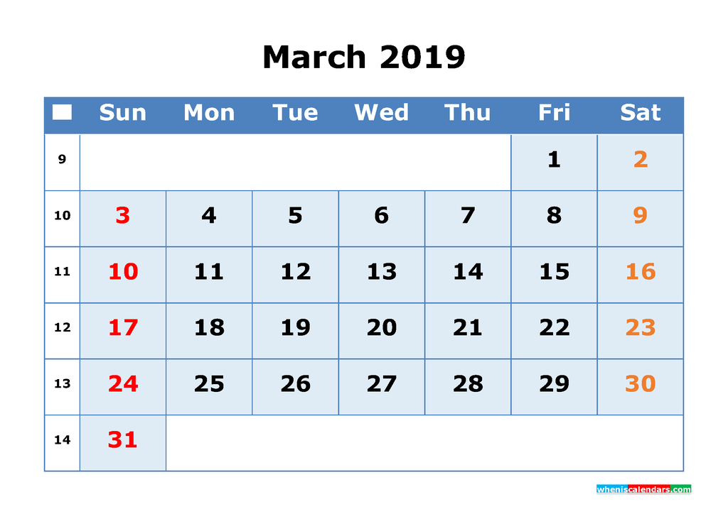 March 2019 Printable Calendar with Week Numbers as PDF, JPG