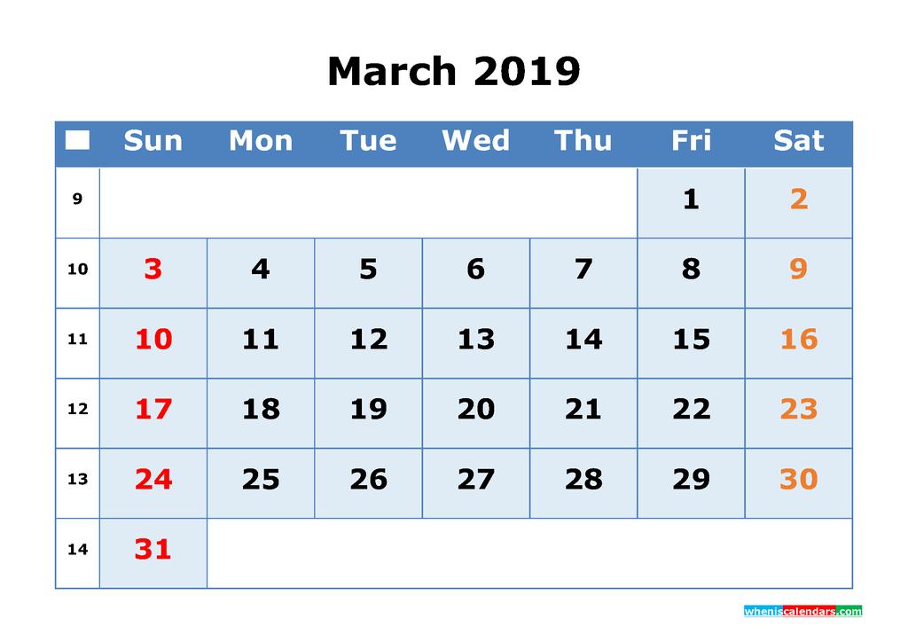 March 2019 Printable Calendar with Week Numbers as PDF, JPG