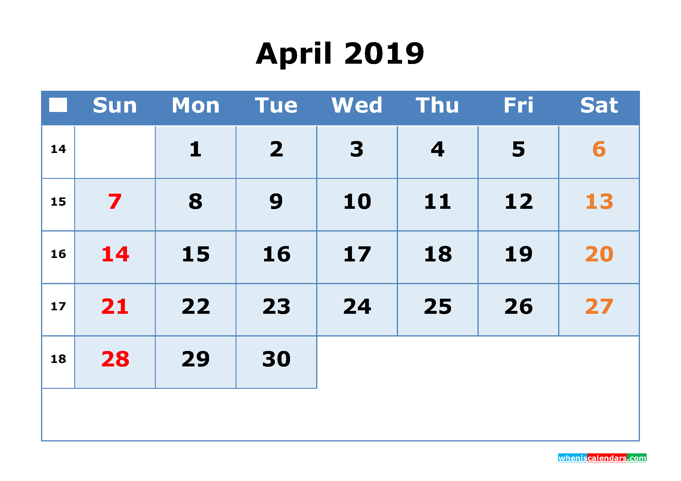 April 2019 Printable Calendar with Week Numbers as PDF, JPG