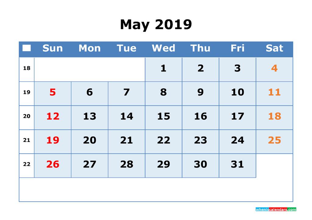 May 2019 Printable Calendar with Week Numbers as PDF, JPG